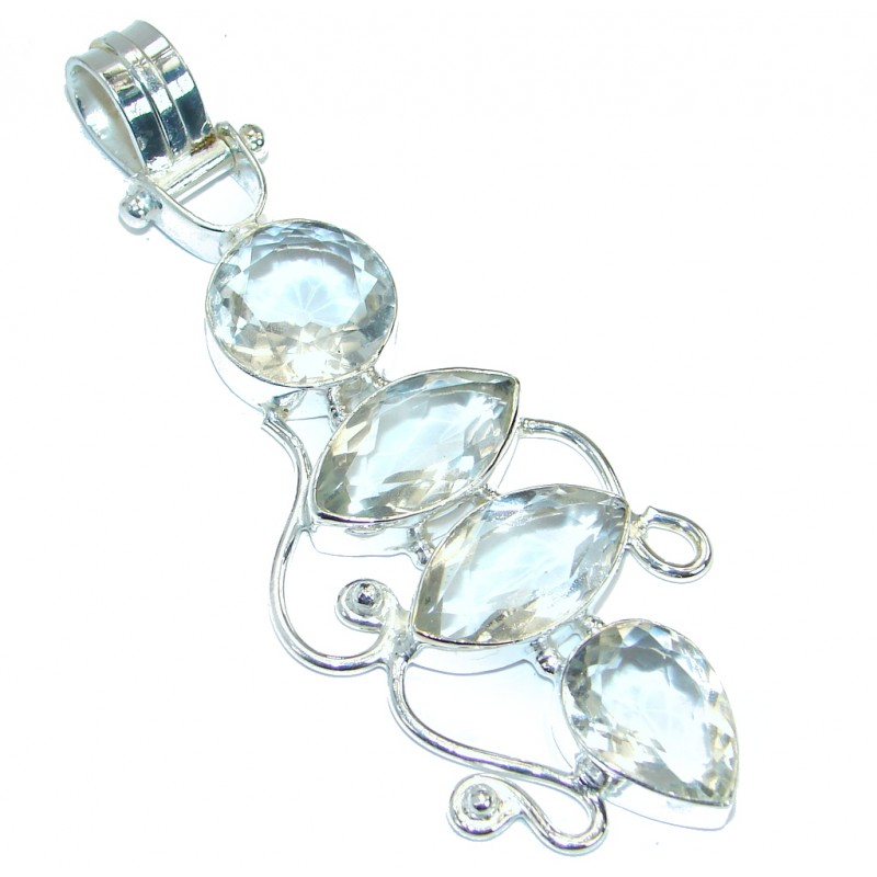 Bohemian Style 4 inches long White Topaz Silver Tone handmade Pendant