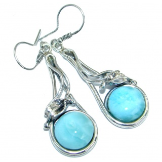 Chunky Precious genuine Blue Larimar .925 Sterling Silver handmade earrings