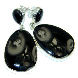 One in the world Onyx .925 Sterling Silver handmade stud earrings