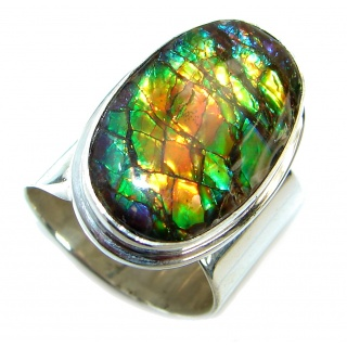 Rainbow Fire Ammolite .925 Sterling Silver handmade ring s. 7 adjustable
