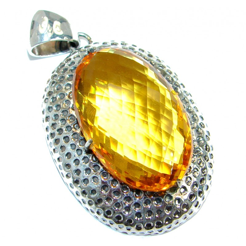 Positive Energy Golden Blossom Golden Quartz .925 Sterling Silver Pendant