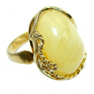 Genuine Butterscoth Baltic Polish Amber 18 ct Gold over Sterling Silver handmade Ring size 6 adjustable