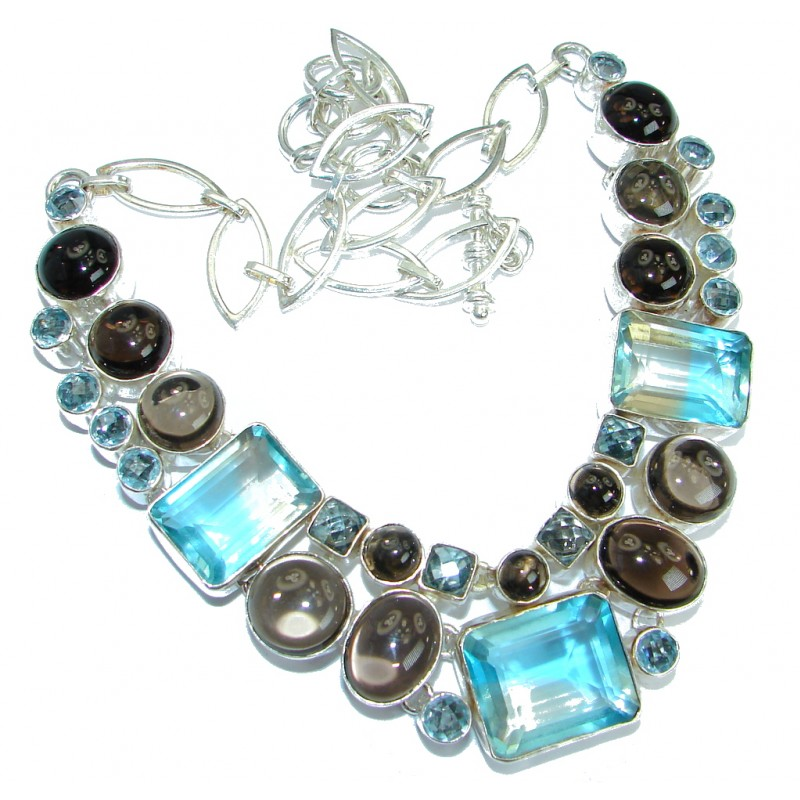 Bohemian Style One of the kind Blue Quartz Sterling Silver handmade necklace