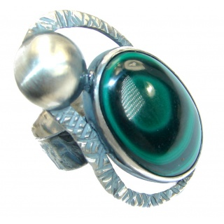 Natural Sublime Malachite oxidized .925 Sterling Silver handcrafted ring size 7 adjustable