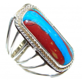 Blue Rainbow Calsilica .925 Sterling Silver handcrafted ring size 9