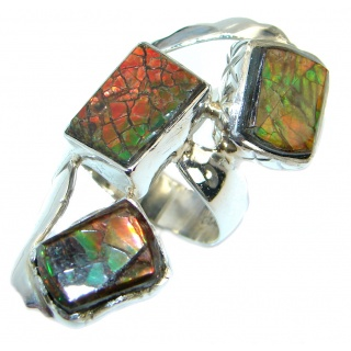 Bohemian Style Canadian Rainbow Fire Ammolite .925 Sterling Silver handmade ring s. 9