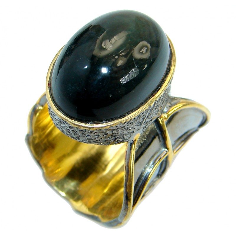 Chic Black Hawks Eye Gold Rhodium over .925 Sterling Silver Cocktail Ring s. 9