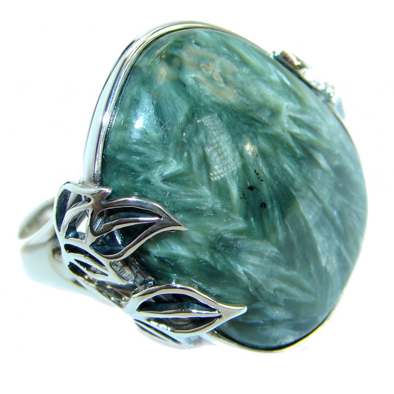 Great quality Green Russian Seraphinite .925 Sterling Silver handcrafted Ring size 7