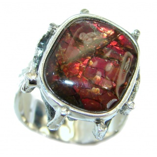 Pure Energy Fire Genuine Canadian Ammolite .925 Sterling Silver handmade ring size 8 3/4