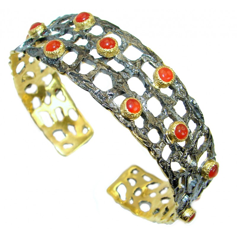 Real Treasure Carnelian Gold Rhodium over .925 Sterling Silver Bracelet / Cuff