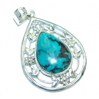 Exquisite Authentic Spider's Web Turquoise .925 Sterling Silver handmade Pendant