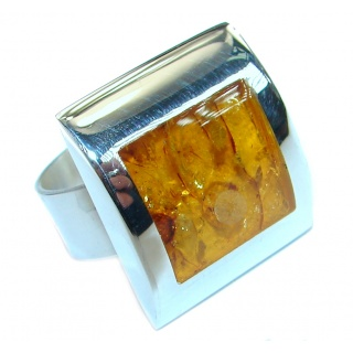 Genuine Baltic Polish Amber Sterling Silver handmade Statment Ring size 8 adjustable