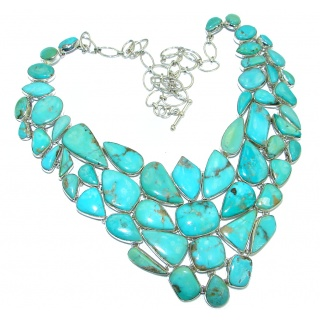 Huge Gallery Masterpiece Blue genuine Carrico Lake Turquoise .925 Sterling Silver necklace