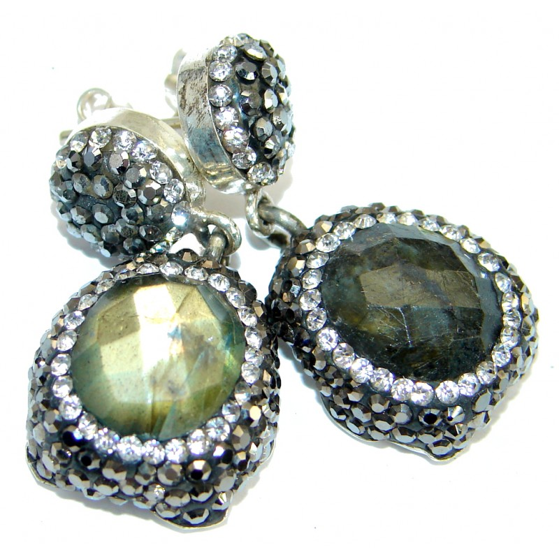 Classic Design Fire Labradorite & Spinel .925 Sterling Silver earrings