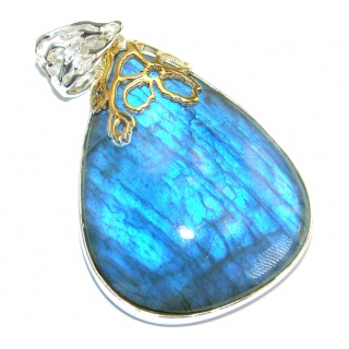 Bold Highest quality genuine Fire Labradorite Two tones .925 Sterling Silver handmade Pendant