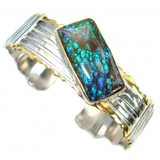 Natural Canadian Ammolite from Aurora Ammolite Mine in Alberta Two Tones .925 Sterling Silver handmade Bracelet