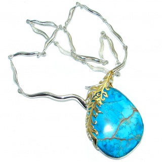 Emily Blue Sea Sediment Jasper oxidized Two Tones .925 Sterling Silver handmade necklace