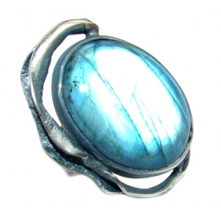 Vintage Style Blue Fire Labradorite oxidized .925 Sterling Silver handmade ring size 8 adjustable
