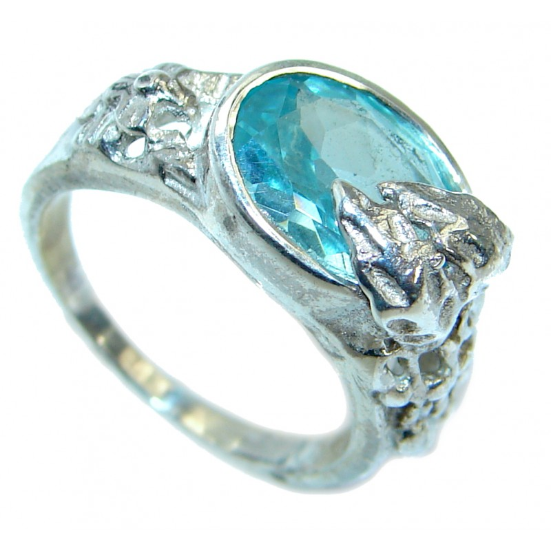 Energazing Swiss Blue Topaz .925 Sterling Silver handmade Ring size 6