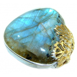 Blue Fire Labradorite Two Tones .925 Sterling Silver handmade ring size 7 adjustable