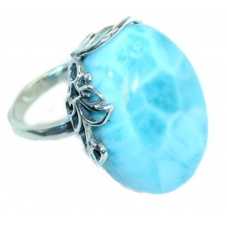 Flawless Genuine Larimar .925 Sterling Silver handcrafted Ring s. 7 adjustable