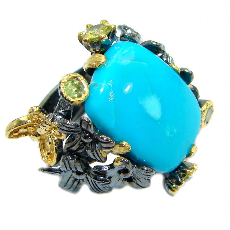 Sleeping Beauty Turquoise Rhodium over .925 Sterling Silver handmade ring size 6