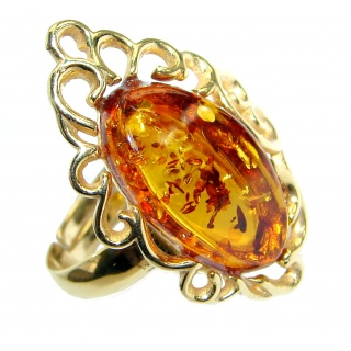 Genuine Baltic Polish Amber 18 ct Gold over Sterling Silver handmade Statment Ring size 8 adjustable