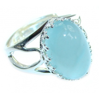 Passiom Fruit Natural Aquamarine 9 ct. Sterling Silver Ring s. 7 adjustable