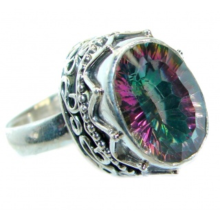 Bold Exotic Magic Topaz Sterling Silver handmade Ring s. 9 1/4