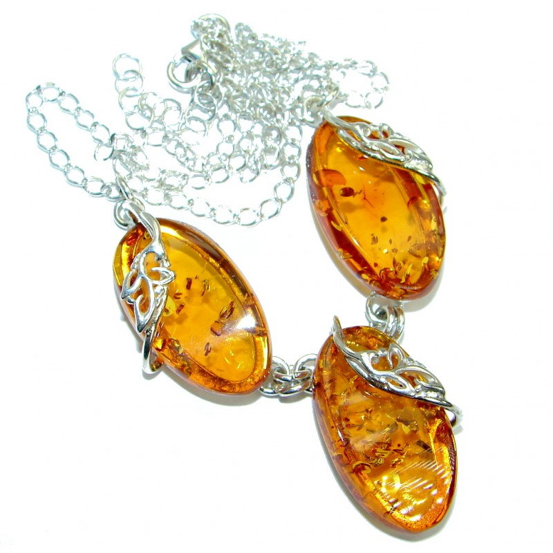 Honey Baltic Polish Amber .925 Sterling Silver handmade necklace