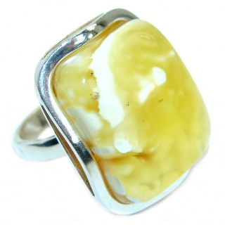 Genuine Butterscotch Baltic Polish Amber .925 Sterling Silver handmade Ring size 8 1/2