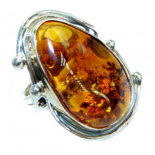 Genuine Baltic Polish Amber .925 Sterling Silver handmade Statment Ring size 8 adjustable
