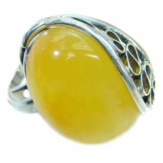 Genuine Butterscotch Baltic Polish Amber .925 Sterling Silver handmade Ring size 7