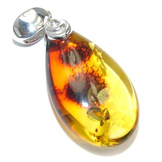 Incredible natural Baltic Amber .925 Sterling Silver handmade Pendant