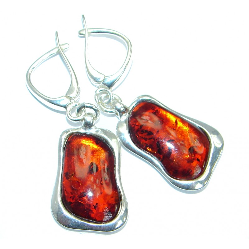 Luxury Genuine Baltic Polish Amber .925 Sterling Silver Earrings