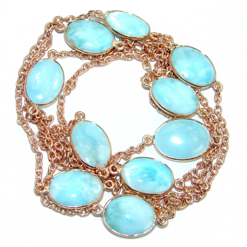 36 inches Genuine Larimar Stones Rose Gold plated over .925 Sterling Silver handcrafted Necklace