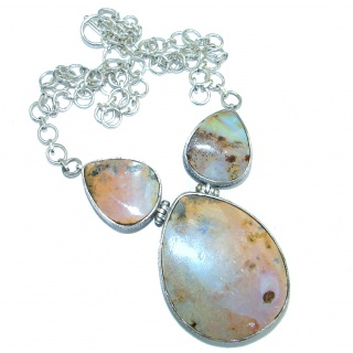 100% Natural Earth Mined Opaque Australian Boulder Opal .925 Sterling Silver handcrafted necklace