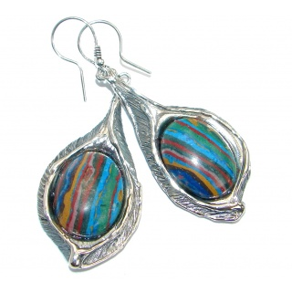 Vintage Design Rainbow Calsilica oxidized .925 Sterling Silver handmade earrings