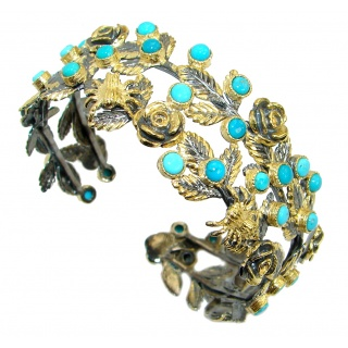 Free Spirit Genuine Sleeping Beauty Turquoise .925 Sterling Silver handmade Bracelet