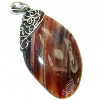 Huge Botswana Agate oxidized .925 Sterling Silver handmade Pendant