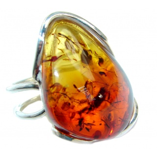 Genuine Baltic Polish Amber .925 Sterling Silver handmade Statment Ring size 7 adjustable