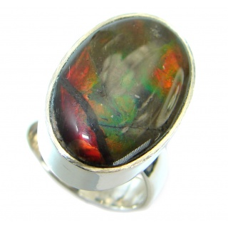 Pure Energy Fire Genuine Canadian Ammolite .925 Sterling Silver handmade ring s. 7 adjustable