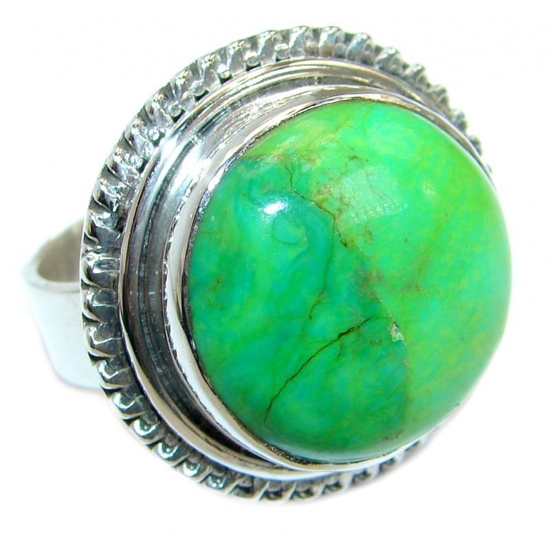 Perfect Green Turquoise .925 Sterling Silver handmade Ring s. 9 1/4