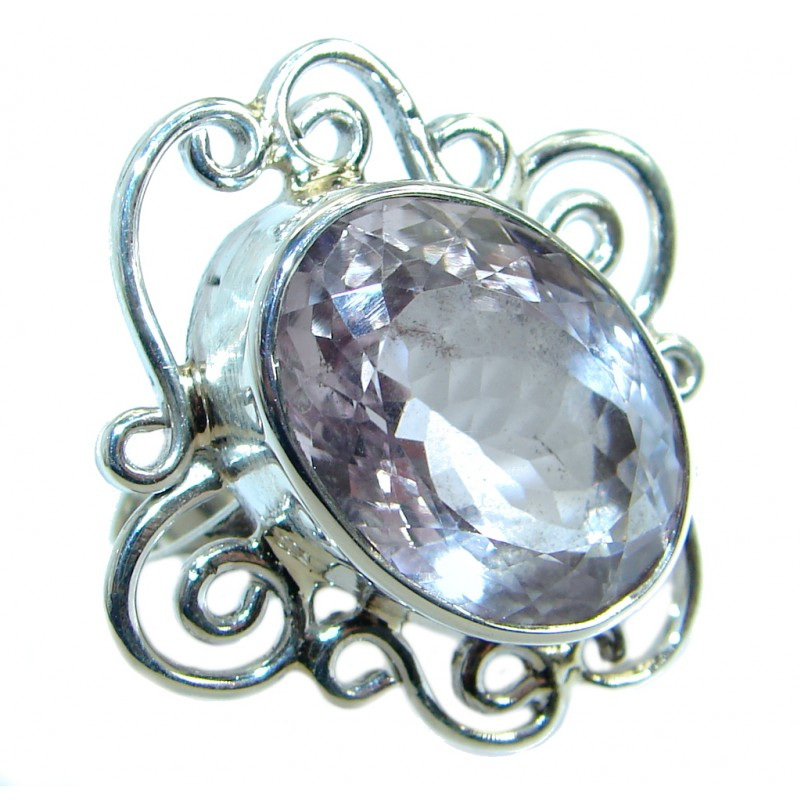Genuine Oval Cut Pink Amethyst .925 Sterling Silver handmade ring size 7 1/4