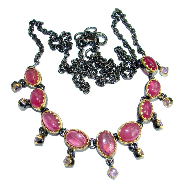 Vintage Design Ruby Amethyst Two Tones .925 Sterling Silver necklace