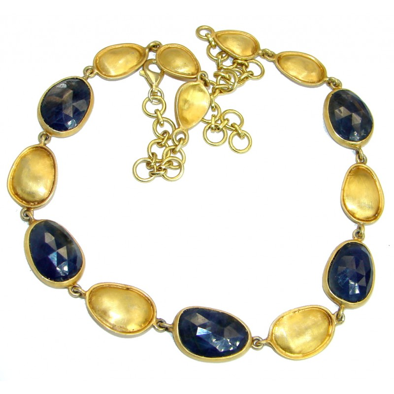 Elegant natural Sapphire 18 ct Gold over .925 Sterling Silver handmade necklace