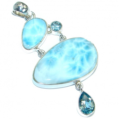 Huge Great quality Beautiful genuine Larimar .925 Sterling Silver handmade pendant