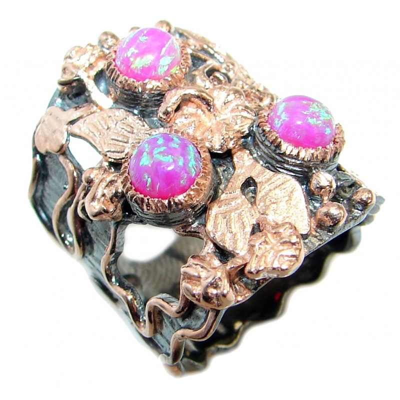 Pink Japanese Fire Opal Rose Gold Rhodium plated over .925 Sterling Silver ring size 7