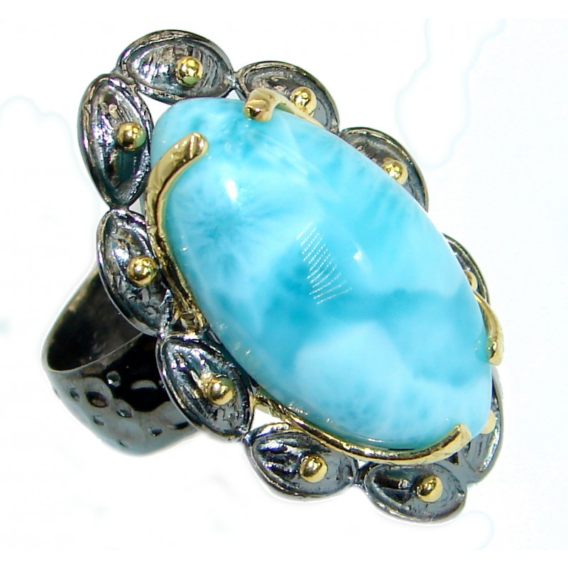 Giant Flower Design Genuine Larimar .925 Sterling Silver handcrafted Ring s. 7 adjustable