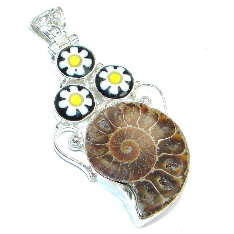 Back to Nature Brown Ammonite Fossil Silver Tone handmade Pendant